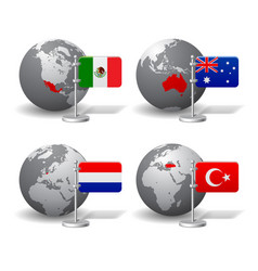 gray earth globes with designation of mexico vector image vector image