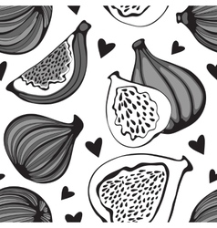 Greyscale seamless pattern with figs vector image vector image