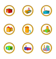 Industrial construction icon set cartoon style vector