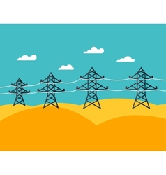 Industrial power lines in flat style vector