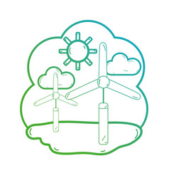line windpower with clouds and sun weather vector image