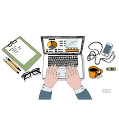 Male hands on keyboard of laptop workplace vector