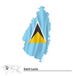 Map of saint lucia with flag vector