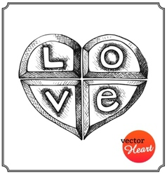 Metallic heart engraved with letters vector