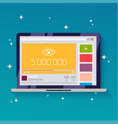 Online video with 5 million views flat design vector