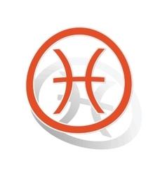 Pisces sign sticker orange vector image