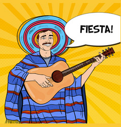 Pop art mariachi in poncho and sombrero vector
