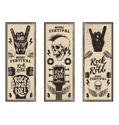 Rock and roll party flyers template vintage vector
