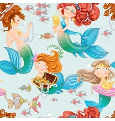 Seamless pattern from mermaid girls with treasures vector image vector image