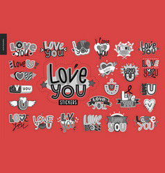 set of contemporary girlie love you letter logo vector image vector image