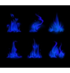 Set of Different Blue Fire Flame Bonfire Isolated vector image vector image