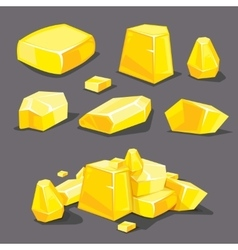 Set of different golden boulders vector