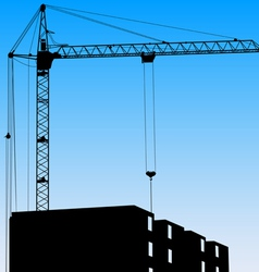 Silhouette of one cranes working on the building o vector image