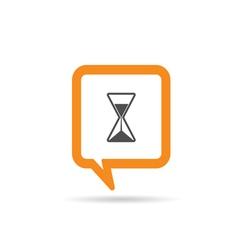 square orange speech bubble with sands clock vector image vector image
