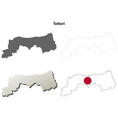 Tottori blank outline map set vector
