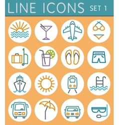 Travel line icons set web design elements vector image