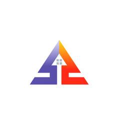triangle arrow house logo vector image