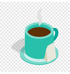Turquoise cup of tea isometric icon vector
