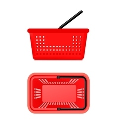 Two views of supermarket basket vector
