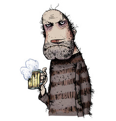 unhappy man drinking beer vector image