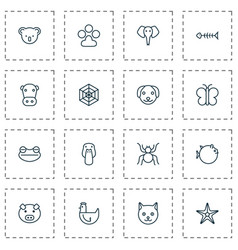 Zoo icons set collection of piglet duck kine vector