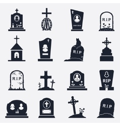 Grave icons set vector image