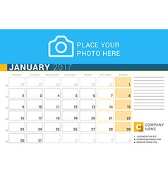 Desk calendar for 2017 year january design print vector