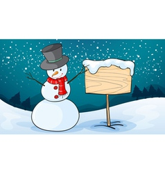 Snowman in snow land vector