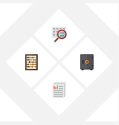 flat exchequer set of document strongbox scan vector image