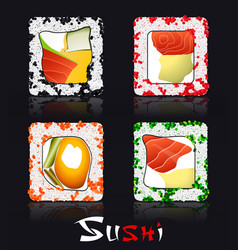 Japanese food on black background and stylized vector