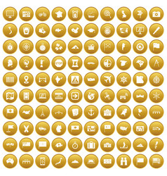 100 cartography icons set gold vector