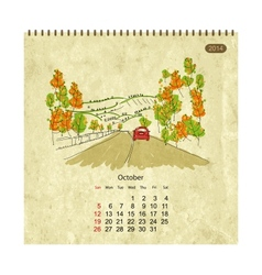 Calendar 2014 october streets of the city sketch vector