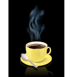 Yellow cup filled with espresso vector