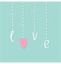 Hanging rain button drops dash line love card flat vector