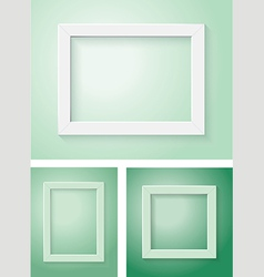White and green frame set vector