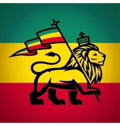 Judah lion with a rastafari flag king of zion vector