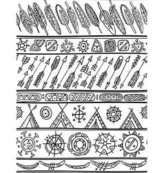 Black and white tribal seamless pattern vector image