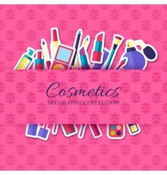 Women makeup cosmetics elements on pink background vector