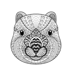 Hand drawn tribal wombat face animal totem for vector