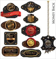 Money back leather vintage labels set vector