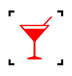 cocktail sign red icon vector image
