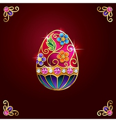 Easter egg red corners vector