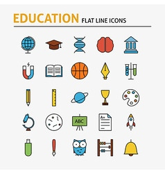 Education and science colorful flat line icons set vector