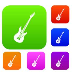 Electric guitar set collection vector