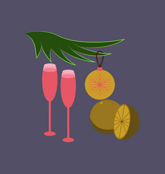 Flat on background of glasses champagne oranges vector