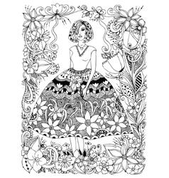 girl holding flower zentangl vector image vector image