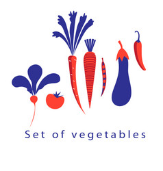 Graphic set of different vegetables vector