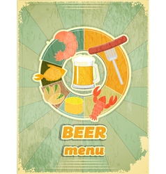 Grunge Design Beer Menu vector image