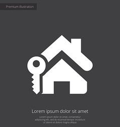 Home key premium icon white on dark background vector