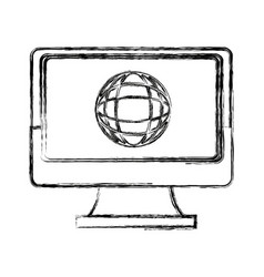 laptop computer globe connection technology icon vector image